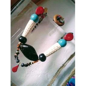 Set Collar Ámbar Con Hueso Tallado Hindú + Cofre + Regalo