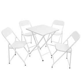Jogo Dobrável America De Aço Branca Mesa C/ 4 Cadeiras