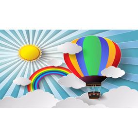 Painel Lona Festa 3,00x1,70mt Nuvens, Balões E Arco Íris