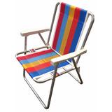 Cadeira De Praia Piscina Chácara Mec G Alta De Alumínio