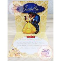 Invitaciones / Tarjetas 3d La Bella Y La Bestia