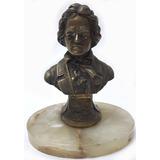 Antigua Estatua Adorno Mozart Petit Bronce Base De Mármol