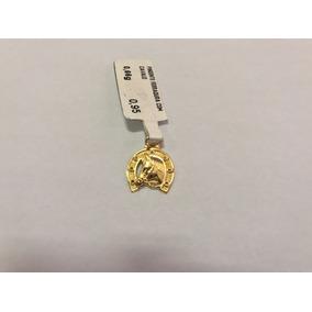 Pingente De Ouro 18.750 K Ferradura Com Cavalo