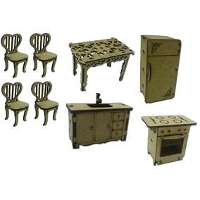 8 Mini Móveis Jogo Cozinha Geladeira Cadeira Pia Fogão Mesa