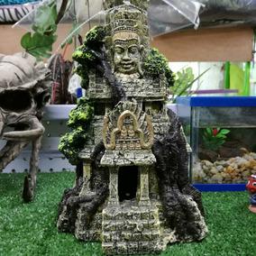 Templo Maya Figura De Resina Para Acuario 17x27x17cm