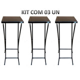 Kit 03 Un Mesa De Aço Dobrável Alta Bistrô Preto 42x42x89