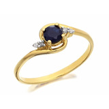 Anel Ouro Amarelo 18k Com Safira E Diamantes Estojo Elegante