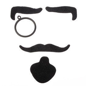 Para Halloween Bigote 4-en-1 Señor Falso Negro Disguise Kit