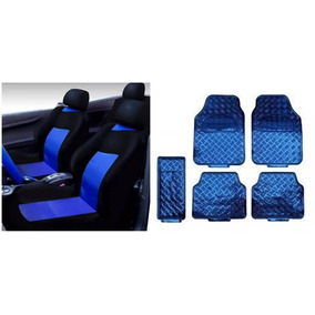 Kit Capa Banco Automotivo Azul P\fiat Uno+tapete 5 Peça Azul