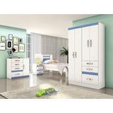 Dormitório Menino C/ Cama Guarda Roupa Comoda Criado Azul Fx