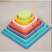Pirámide De  Encastre Estimulacion Madera En Colores Bebes