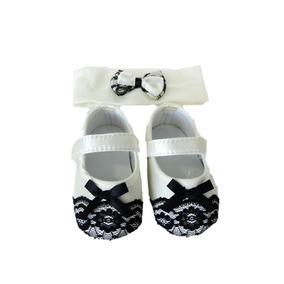 Kit Recem Nascido Sapato Tiara Kit Pimpolho Branco 004866
