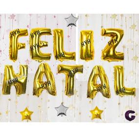 Kit Balão Metalizado Feliz Natal - Grande 70cm + 4 Brindes