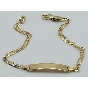 Esclava De Oro Amarillo 10k Diamantada Tejido Figaro 3x1