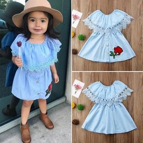Vestido Campesin Casual Hermoso Moda Para Niñas Bordado Bebe