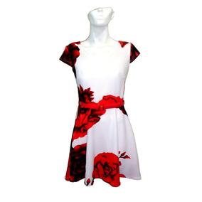 Vestido Dama Flores Blanco Rojo Fiesta Con Cinto