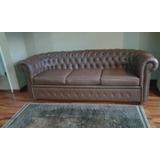 Sofa Chester Tapizado En Piel 3 Puestos