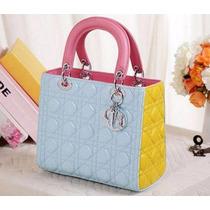 Bolsa Original Christian Dior Lady Di Azul C Amarela Luxuosa
