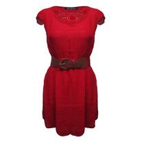 Vestido Manga Con Cinturon Corta Dama Mujer Rojo 445 Zoara