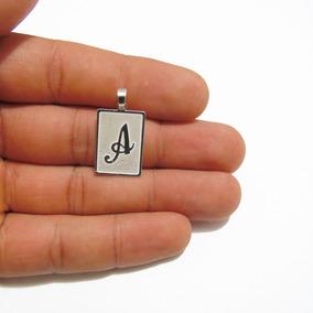 Pingente Placa Letra Inicial Masculino De Prata 925k