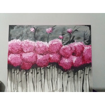 Cuadro , Pintura De Acrílico Flores Magenta 40 X50cm