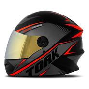 Capacete Moto Fechado Protork R8 Viseira Irridium Camaleão