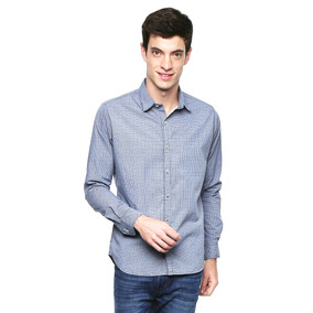 Camisa Slim Fit Azul Marino - Rewind - 804571 - Azul Marino