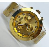 Reloj Dorado Con Borde Acrílico Swatch Mica Grande