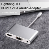 Convertidor Lightning A Hdmi Y Vga Con Audio Integrado