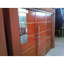 Portón Garage Madera Oblak Moderna 1283c Cedro Abrir 3 Hojas