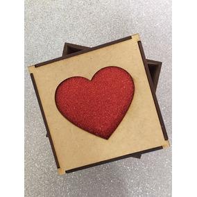 Caixa Dia Dos Namorados 11x11x7 Presente Mdf Cru + Eva