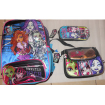 Mochila Backpack Primaria, Lonchera Y Lapicera Monster High