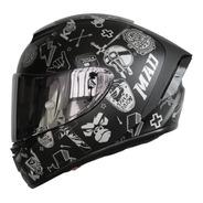Casco Para Moto Kov Aircut Smash Plata Negro Mica Plata
