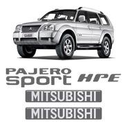 Kit Adesivos Pajero Sport + Hpe Grafite Resinados Mitsubishi