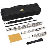 Flauta Transversal Plateada Orificio Cerrado Clave Do 16 Key