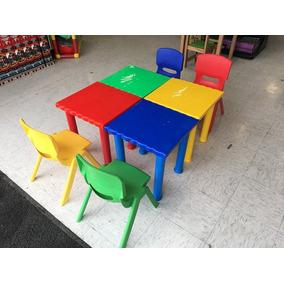 Mesa Cuadrada Para Preescolar Juego De 4 Mesas