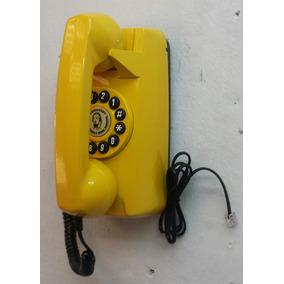 Telefone Antigo Tijolinho De Parede Amarelo Retrô Vintage