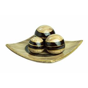 Fruteira Quadrada Marrom Com 3 Bolas Em Cerâmica