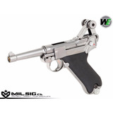 Pistola We Luger P08 Plateada 6 Mm Metal Airsoft Blowback