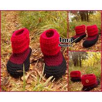 Pantuflas De Lana Al Crochet Para Los Pequeños. Artesanales