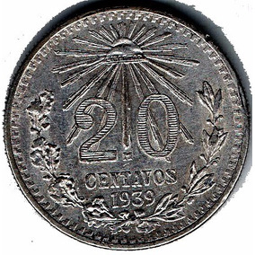 Veinte Centavos Resplandor 1939 Plata Moneda Antigua P4s