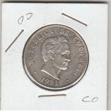 Moneda De Colombia Antigua 50 Cent. Año 1934 En Plata