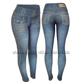 Calça Legging Estampa Jeans Imita Jeans Academia Fitness!