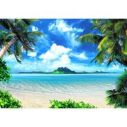 Painel Em Lona Praia Hawaii Lona Fosca Alta Resolução