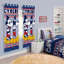 Cortina Infantil Disney Mickey Mouse 1,80x2,00m Santista