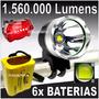 Lanterna Farol Bike Led T6 + Pac 6 De Baterias Autonomia 8hr