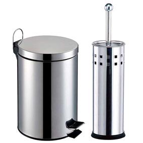Kit Banheiro 2 Pçs: Lixeiras + Escova Sanitária - Travel Max
