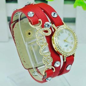 Relógio Feminino Bracelete Luxo Love Barato