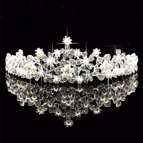 Coroa Tiara Pérola Arranjo Cabelo Noiva Casamento Debutante