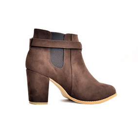 Zapatos Botin Dama Tacon Ancho Mujer Gamuza M2035 Cafe